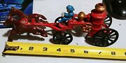Vintage Fire Engine 2 Horse Drawn Truck Wagon Made Of Cast Iron W/ Water Tank