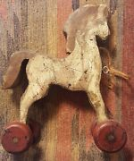 Primitive Wooden Horse Pull Toy