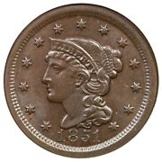1851 N-34 R-4 Ngc Ms 65 Bn Braided Hair Large Cent Coin 1c