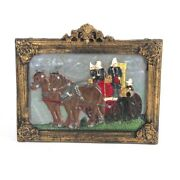 Fireman Plaque Cast Iron Fire Wagon Painted Wall Sign Decor Hanging As Is