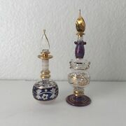 Lot Of 2 Egyptian Mouth Blown Hand Etched Glass Vanity Perfume Bottles Gold Gilt