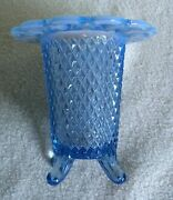Vintage Imperial Glass Laced Edge Diamond Cut Blue Footed Vase Opalescent