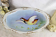 Large French Limoges Marked Porcelain Bird Pheasant Tableware Plate Signed