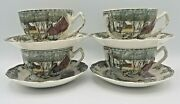 4 Johnson Brothers Friendly Village The Ice House Flat Cups And Saucers Eng