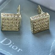 Dior Square Shape Crystal Studded Clip-on Earrings Gold Finish