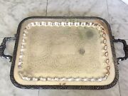1883 Fb Rogers Silver Co Serving Tray Floral Pattern