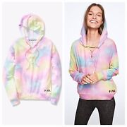 Vs Victorias Secret Pink Cozy Lace Up Pullover Hoodie Sweater Top Rainbow S