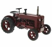 Retro Vintage Style Red Tractor Metal Tin Model Ornament New With Tags