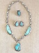 Pawn 8 Turquoise In Sterling Silver Necklace Earring And Ring By Ray Delgartio