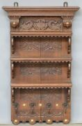 Antique 385 Xl French Wood Carved Dolphins Portrait Heads Coat Rack Shelf