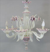 Unusual Pink Murano Glass Art Chandelier Mid Century Retro 6 Arms 1960and039s