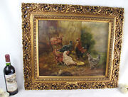 Top Listed Henry Schouten Oil Canvas Chicken Rooster Animal Painting Framed