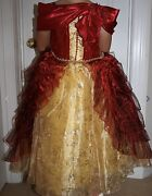 Disney Store Princess Belle Deluxe Holiday Costume Ball Gown Size 5/6 And Access