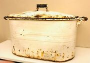 Antique Rochester Lrg White Metal Wash Tub Boiler W/ Lid Wood Handles Distressed