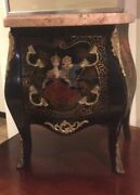 Small French Louis Xv Gilt Bronze Mountedhand Painted Marble Top Commode
