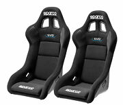 Pair Sparco Evo Qrt Racing Bucket Seat - Black Fabric - Fia Approved