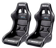 Pair Sparco Qrt-r Racing Bucket Seat - Black Vinyl - Fia Approved