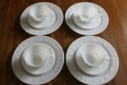 Rare Hazel Atlas Embossed Floral Milk Glass 4 Dinner Plates4 Cups And 4 Saucers.