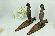 Antique French Pair Wood Carved Castle Gothic Dragon Gargoyle Wall Lights Sconce