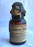 Sealed Strontium Iodide Bottle W/ Stopper Cap Merck Brown Glass Apothecary 1800s