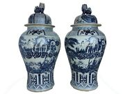 Mansion Size Chinoiserie B And W Porcelain Ginger Jars  Pair 35.5 H