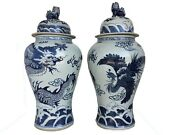 Mansion Size Chinoiserie B And W Porcelain Ginger Jars Dragon And Phoenix 37 H