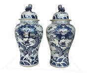 Mansion Size Chinoiserie B And W Porcelain Ginger Jars Dragons Pair 35.5 H