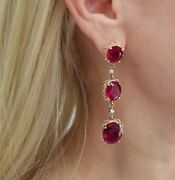 14k Yellow Gold Large Oval Rubies And Round Diamonds Dangle Earrings17.69gr