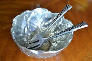 Large Centerpiece Fruit Salad Serving Pewter Bowl With Spoon And Fork Set