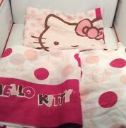 Hello Kitty 2 Pc Or 3pc Twin Size Fitted, Flat And Pillowcase Pink Polka Dots