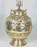Oversize Bulbous Brass Jewel Embedded And Pierced Middle Eastern Lamp
