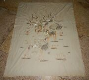 Superb Antique Chinese Cranes Hand Embroidered Wall Hanging Panel 172x139 Cm
