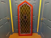 Stunning Vintage Arched Stained Glass Window With Frame Molding 5and039 9-1/2 Tall