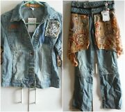 Akdmks Jeans Or Jacket Scart Zippered On Sleeves Owl Buttons Med Large 2x 27 28