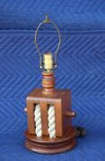 Vintage Block And Tackle Pulley Nautical Solid Wood And Rope Lamp