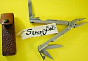 Vintage Gerber Military Provisional Tool Mpt Multi-tool And Brown Leather Sheath