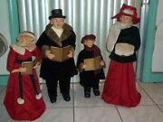 Giant 25 In To 37 In Victorian Family Carolers Set Of 4 W/ Song Books Rare Used