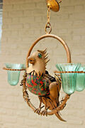 Unusual Rare Copper Parrot Bird Glass Figurine Chandelier Lamp French 1950's