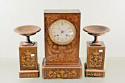 Gorgeous Antique 19th C French Marquetry Inlaid Charles X Wood Clock Set Urns