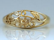 R053 Lovely 9k Yellowrose Or White Gold Floral Blossom Filigree Ring In Yr Size