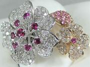 Large Pave Diamond Ruby Pink Sapphire 14k Wr Gold Flower Cocktail Ring R57546tp