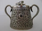 Rare Antique Solid Silver Indian Handmade Tea Caddy And Lid Floral Snakes And Lion