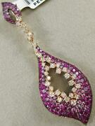 Large Pave Diamond Pink Sapphire 14k Rose Gold Cluster Marquise Pendant Pe01358r