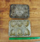 2 Vintage Industrial Bakery Heart Shape Cookie Trays Soap Molds Forms 14x10x1