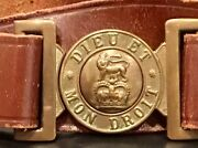 Elisabeth Ii 1952-now British Army Leather Service Belt And Brass Buckle, Uk