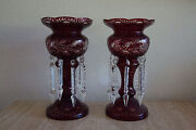 Pair Vintage Victorian Ruby Cut To Clear Glass Lustre Crystal Prisms 22