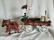 Cast Iron Metal Toy Horse Drawn Fruits And Vegetables Wagon Umbrella