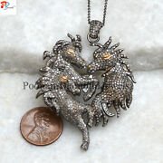 Pave Diamond Horse Dragon Pendant 925 Sterling Silver 16 Chain New Year Gift