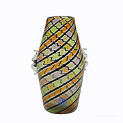 Fratelli Toso And039a Canneand039 Glass Vase With Handles Murano Italy Ca. 1965