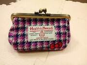 Hello Kitty Harris Tweed Makeup Pouch Cosmetic Bag Purse Case Made